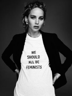 """Jennifer Lawrence wearing Dior's """"We Should All Be Feminists"""" t-shirt"""
