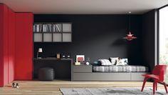 cama nido tipo torre vulcano con mesa estudio y armario rinconero, muebles juveniles