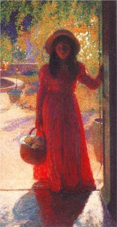 Gabrielle at the Gate - Henri Martin, Oil on canvas, Style:  Divisionism.
