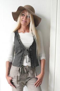 BOHO Linen Vest, DARK GREY