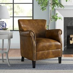 """Three Posts™ Manford 32"""" Wide Genuine Leather Round Storage Ottoman & Reviews   Wayfair Recessed Electric Fireplace, Round Storage Ottoman, Toss Pillows, Seat Cushions, Storage Spaces, Armchair, Wingback Chairs, Love Seat, Upholstery"""