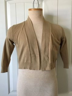 Women's Cardigan Long Sleeve Size PM Beige Short Length Rayon Petites Solid #89thMadison #Cardigan