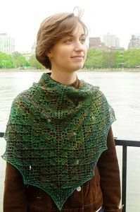 """Semi-precious Shawl Kit - priced at $27.60. """"Semi-precious is a triangular shawl with a garter stitch border that is knit from center back to the bottom edge. Yarnovers at each end and along the center stitch are used to form the triangle shape. Increases are worked on right side only."""""""