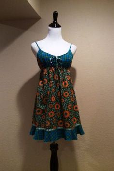 FREE PEOPLE BOHO Flannel  Dress with adjustable strapes in Size Small