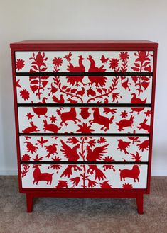 Mexican Otomi Mid Century Modern Red and White by SweetParsleyHome