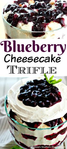 Stunning and simple to make, this Easy Blueberry Cheesecake Trifle is an edible centerpiece to add to your trifle recipe collection. Summer Dessert Recipes, Holiday Desserts, Fruit Recipes, Easy Desserts, Sweet Recipes, Delicious Desserts, Homemade Desserts, Layered Desserts, Recipies