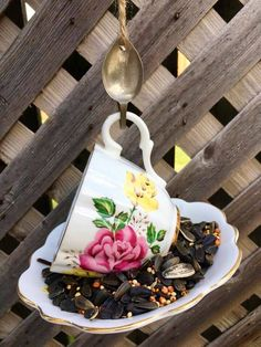 Garden Bird Feeders, Silver Spoons, Perfect Gift For Her, Garden Ornaments, Upcycled Vintage, Teacup, Garden Art, Gifts For Mom, Espresso