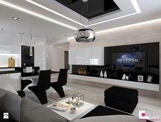 Mieszkanie 69 m2 w Siedlcach - Średni salon z kuchnią z jadalnią, styl nowoczesny - zdjęcie od CUBE Interior Design