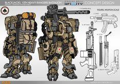 BLACKJACKS 10TH HEAVY RANGER BATTALION CONCEPT ART ARIADNA Robot Concept Art, Armor Concept, Weapon Concept Art, Infinity Art, Infinity The Game, Halo Armor, Science Fiction, Gato Anime, Futuristic Armour