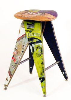 Recycled Skateboard Barstool  25 CounterHeight by SkateOrDesign