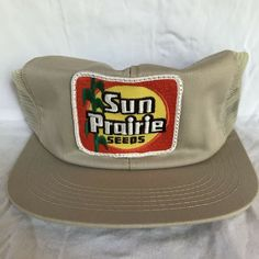 e022e755ec167 Vintage K Products Sun Prairie Seeds USA Snapback Mesh Trucker Cap Hat  Patch  KProducts