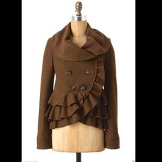 """Anthropologie Elevenses moss brown ruffled Coat 4 Anthropologie / Elevenses moss brown textured wool blend """"Frilled Echelons Peacoat"""" Grand, ruffled tiers sweep across Elevenses' coat from cowlneck to hemline button closure lined in black & white butterfly print cotton New with Tags  *  Size:  4  75% polyester * 25% wool   cotton lining  measures: 17"""" under arm to arm ( 34"""" around )  34"""" around waist 25"""" long sleeves 13.5"""" across back shoulder to shoulder 21"""" long in front middle * 23"""" long…"""