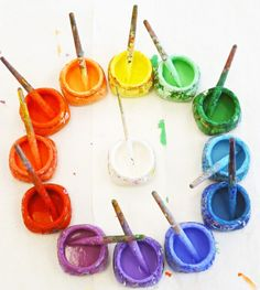 Think this is an amazing way to present coloured paint to children