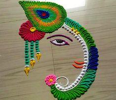 Beautiful Lord Ganesh Rangoli Designs for Easy and Simple to Make Happy Diwali Rangoli, Diwali Special Rangoli Design, Easy Rangoli Designs Diwali, Colorful Rangoli Designs, Beautiful Rangoli Designs, Kolam Designs, Ganesh Rangoli, Lotus Rangoli, Diya Rangoli