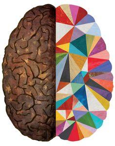 Geometric Brain Art Print by Mara Thornhincher