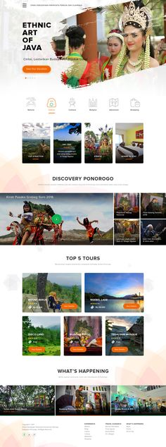 Hi guys, just a homepage exploration for Ponorogo Tourism Government website. Website Layout, Website Themes, Website Design Inspiration, Web Design Inspiration, Page Design, Layout Design, Hotel Sites, Web Design Examples, Tourism Website