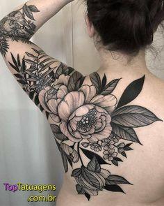 Black Flower Tattoos - Best Flower Tattoos For Women: Cute Floral Tattoo Designs. Black Flower Tattoos - Best Flower Tattoos For Women: Cute Floral Tattoo Designs and Ideas For Girls - Arm, Sleeve, Lotusblume Tattoo, Backpiece Tattoo, Tattoo Style, Cover Tattoo, True Tattoo, Tattoo Fonts, Mandala Tattoo, Big Tattoo, Tatoo Floral