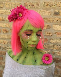 cute cactus Halloween costume, makeup + hair   hair, makeup + paint by goldplaited cactus costume cactus makeup cactus facepaint