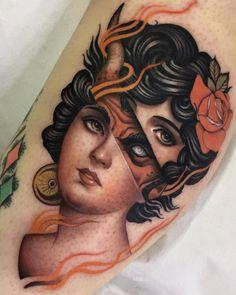 Tattoo by artist Andres InkMan - Tattoo Models Dope Tattoos, Great Tattoos, Beautiful Tattoos, Body Art Tattoos, Tatoos, Tattoo Ink, Colour Tattoos, Gold Tattoo, Portrait Tattoos