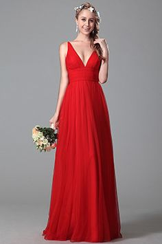 eDressit Sencilla Rojo Vestido para Dama de Honor Escote V (07151002)