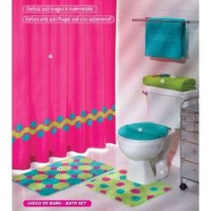 Pink Green Aqua BATHROOM :)