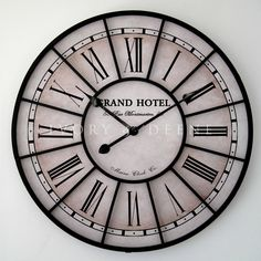 Large 60cm Metal Wall Clock GRAND HOTEL Paris France Vintage Industrial Style