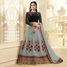 Buy Grey - Black Embroidered Lehenga Choli for womens online India, Best Prices, Reviews - Peachmode