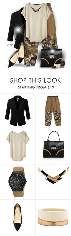 """""""Floral Pants and Lace Shoes"""" by rockreborn ❤ liked on Polyvore featuring Doublju, MM6 Maison Margiela, rag & bone, Prada, Skagen, Warehouse, Jimmy Choo, Marni, Fabrizio Riva and polyvoreeditorial"""