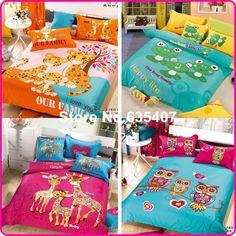 100% хлопок 6 моделей взрослых детей сова постельных принадлежностей 3d комплекты постельного белья / простыня для короля / королевы / двойной кроватью