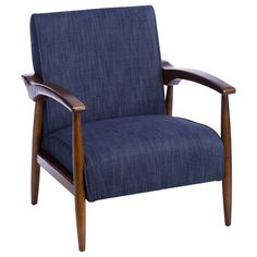 The Gracie Retro Arm Chair brings an updated version of a mid-century modern style to the home. The chair has a deep walnut finish along with colorful indigo upholstery.