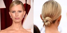 Hairstylist Bryce Scarlett parted Karolina Kurkova's hair deep and on the side before looping it at her nape. - HarpersBAZAAR.com