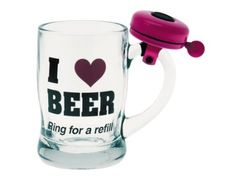 Amazon.com: Present Time Silly I Love Beer Glass with Pink Bell: Kitchen & Dining. WANT