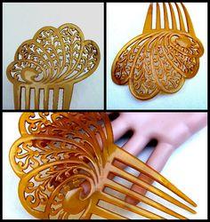 Art Deco hair comb amber Spanish comb hair by ElrondsEmporium