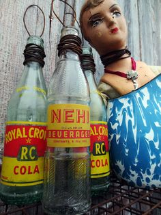 Vintage Bottle Budd-ees from Royal Crown Cola and Nehi Bottles...1930's...retro kitchen...faded prairie...rustic bud vase...old soda bottle