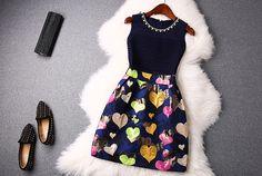 New   spring diamond  bead  chain  Love  print  women  wleeveless dress SR033 - STYLANDO
