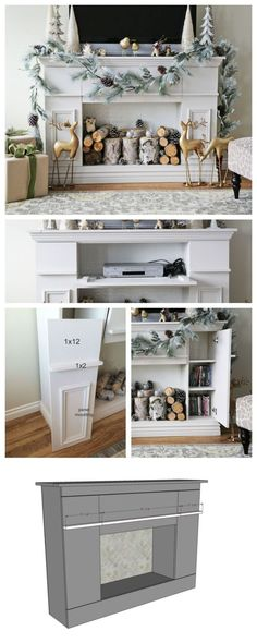 Diy Furniture : Ana White   Build a Faux Fireplace Mantle with Hidden Storage Cabinets   Free an