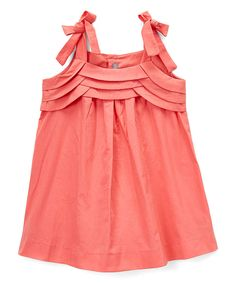This Les Petits Soleils by Fantaisie Kids Coral Ruffle-Accent Shift Dress - Infant & Toddler by Les Petits Soleils by Fantaisie Kids is perfect! #zulilyfinds