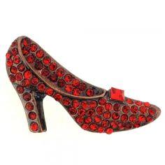 Ruby Red High Heel Crystal Brooch Pin