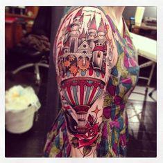 Alice in wonderland balloon tattoo on arm. *Amazing!