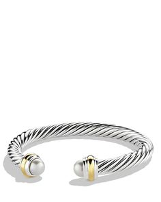 775 David Yurman Cable Classics Bracelet with Pearls and Gold