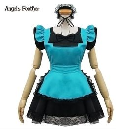 Anime Blue Maid Costume Party Performance Dress Top Quality EMS free Shipping CCF0190