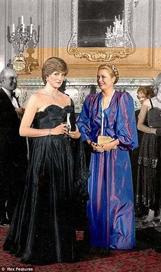 "Lady Diana and Princess Grace meet at the   fundraiser March 9, 1981. Princess Grace was  very sweet and tired to show Diana the ""ropes."""