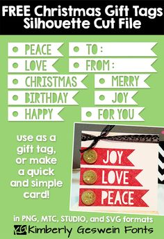 Free Gift Tag sentiment cut files (for Christmas & all year long) from Kimberly at Fresh & Original #Silhouette #svg #mtc