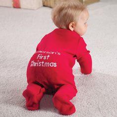 Personnalisé Noms Premier Noël 2019 Babygrow Fairisle Filles Garçons Noël Pyjama 2