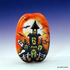 """""""A PARADE OF GHOSTS"""" byKAYO Handmade HALLOWEEN CAT Lampwork Glass Focal Bead SRA <a class=""""pintag searchlink"""" data-query=""""%23Lampwork"""" data-type=""""hashtag"""" href=""""/search/?q=%23Lampwork&rs=hashtag"""" rel=""""nofollow"""" title=""""#Lampwork search Pinterest"""">#Lampwork</a>"""