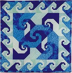 Snail trail quilt pattern - ocean colors
