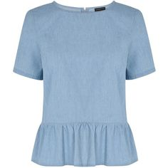 Warehouse Peplum Denim T-Shirt, Light Blue and other apparel, accessories and trends. Browse and shop related looks.
