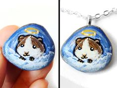 Guinea Pig Pet Memorial Stone, Pet Necklace, Angel Pendant, In Memory, Pet Loss Gift, Blue Sky, Painted Rock, Animal Painting