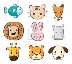 cute cartoon animals Stock Photo