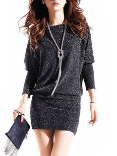 Ladylike Street Boat Neck Long Sleeve Knitted-dress - stylishplus.com
